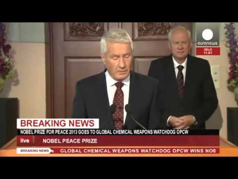 JUST IN Nobel Peace Prize 2013 goes to chemical weapons watchdog OPCW recorded live feed)