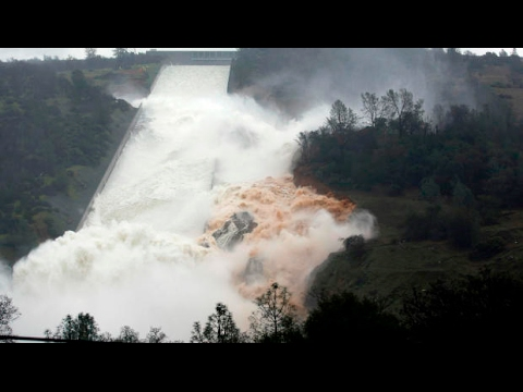 (Shocking) new footage of Lake Oroville dam spillway and emergency spillway 2/12/2017