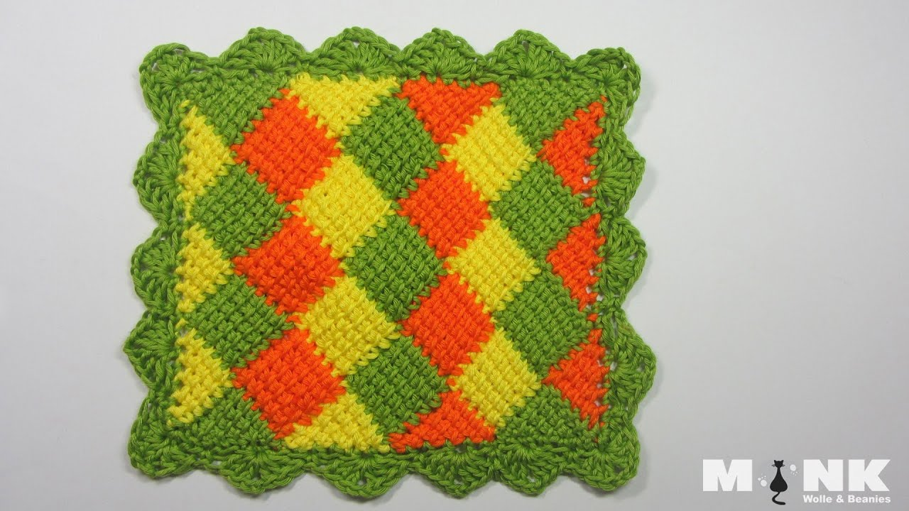 Entrelac Babydecke / Diamantmuster Teil 2 - YouTube