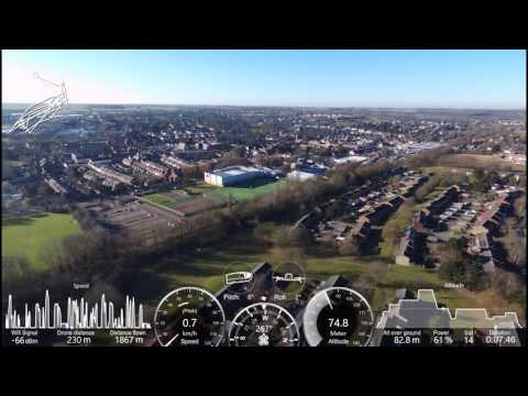 Haverhill Suffolk Parrot Bebop 2 New Lidl, Cricket Club, all around view