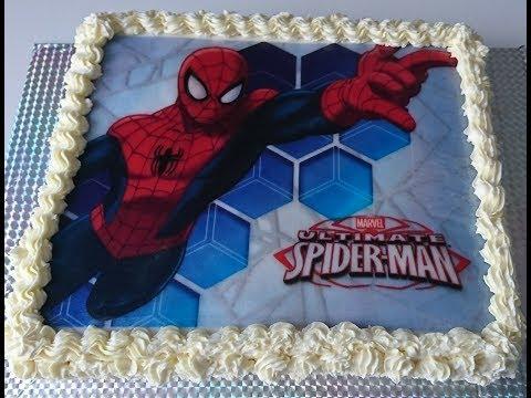 "Торт""СПАЙДЕРМЕН / SPIDER MAN"" как нанести вафельную картинку на торт"