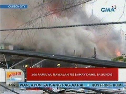 UB: 200 pamilya, nawalan ng bahay dahil sa sunog (Quezon City)