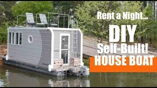 He Built His Own Tiny House Boat From Scratch!  And You Can Rent It!