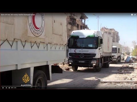 Syria civil war: Aid convoy reaches besieged Daraya