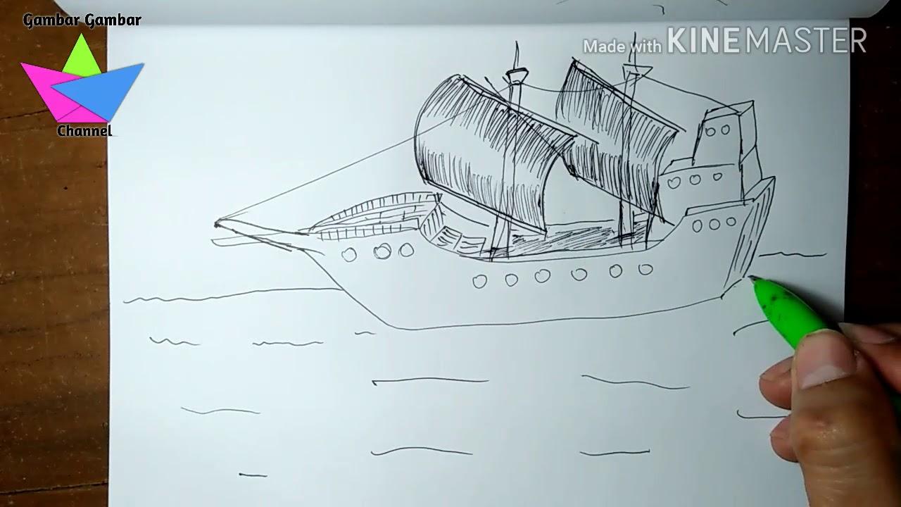 Menggambar Kapal Bajak Laut Hanya Dengan Bolpen 4 Warna