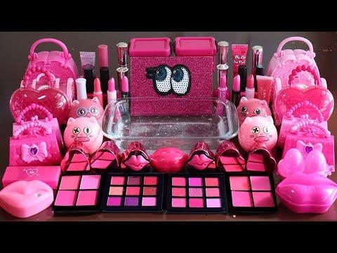 """Big Mega PINK!""Mixing ""Neon Pink""Makeup,More Stuff Into slime!Most Satisfying Slime Video."