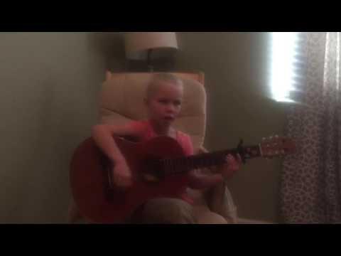 Kayla, 8, plays guitar, Beautiful Noise