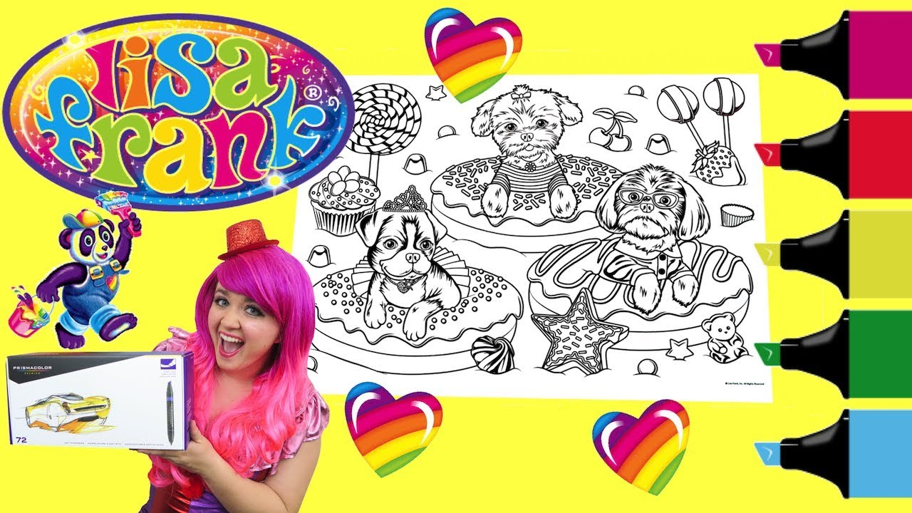 Coloring Lisa Frank Donuts Dogs Coloring Book Page Colored Markers