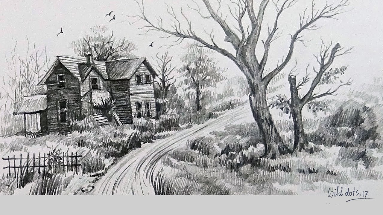 How To Draw A Natural Scenery With Simple Graphite Pencils Easy And Simple Steps