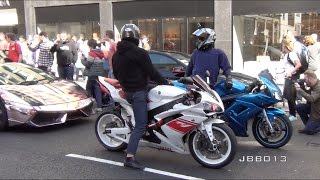 superbikes and supercars go crazy in the city