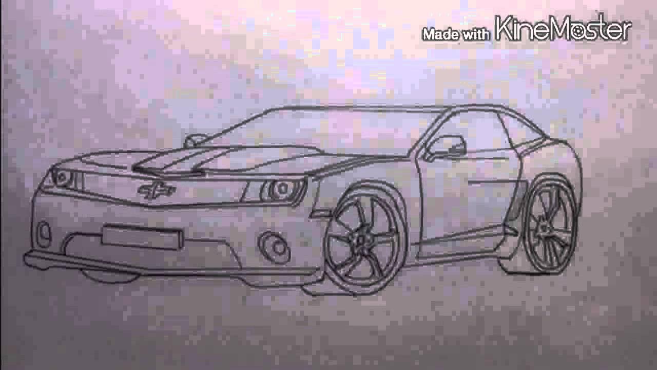 нарисовать машину chevrolet camaro ss