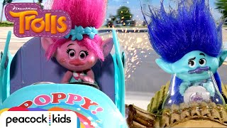 Trolls' EXTREME Car Race to the Finish Line  | TROLLS TOYMOTION