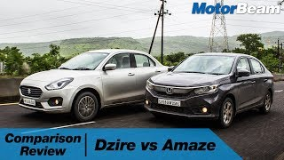 Maruti Dzire vs Honda Amaze - Comparison Review | MotorBeam