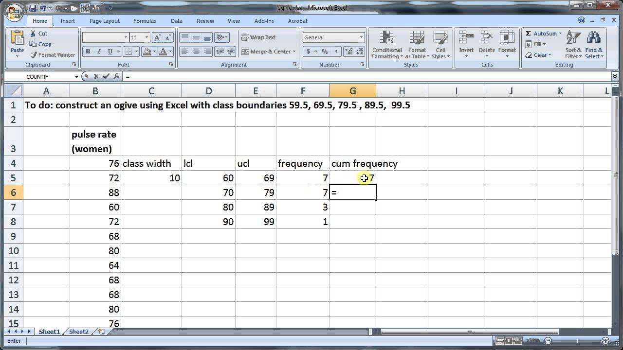 24 construct ogive with excel youtube 24 construct ogive with excel ccuart Choice Image