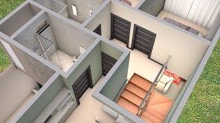 Planta 3D Duplex com três Quartos e Cozinha Americana