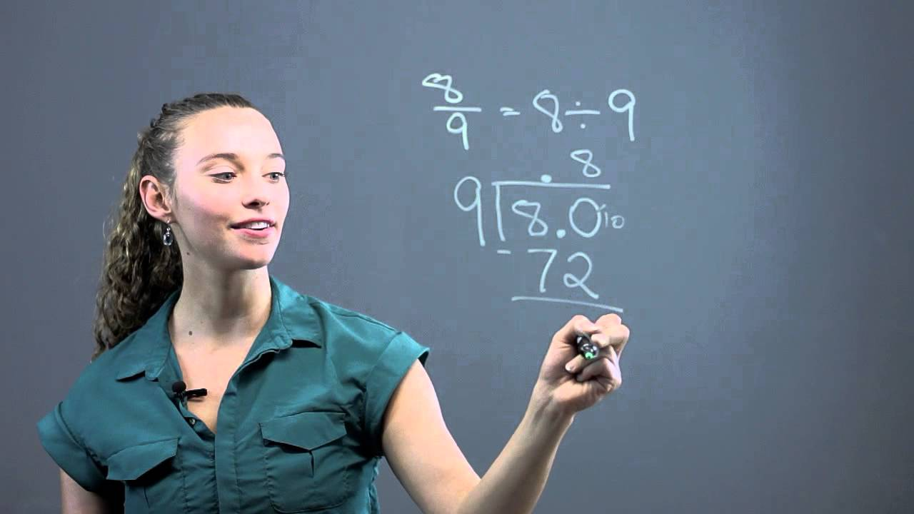 How to Write 8/9 as a Decimal : Math Questions & Answers - YouTube