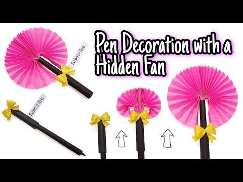 Download Easy DIY Pen Decoration with a Hidden Fan | Paper Flower Fan | Back to school |Art & Craft |Homemade