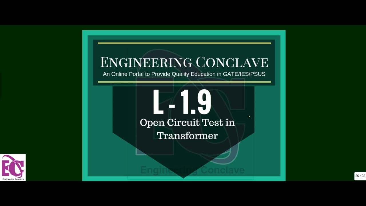 L 19 Open Circuit Test On Single Phase Transformer I Gate Ies For