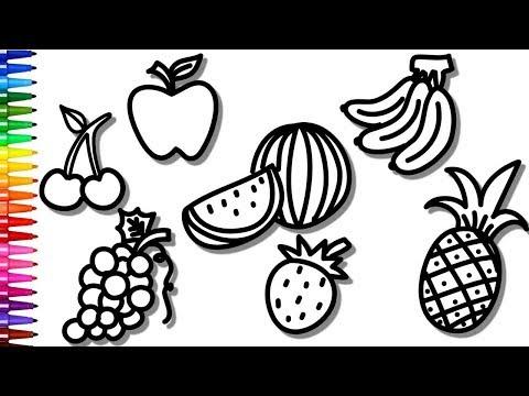 Desenhos Para Colorir Colorindo Frutas, Uva, Banana e Morango Desenhos Para Colorir