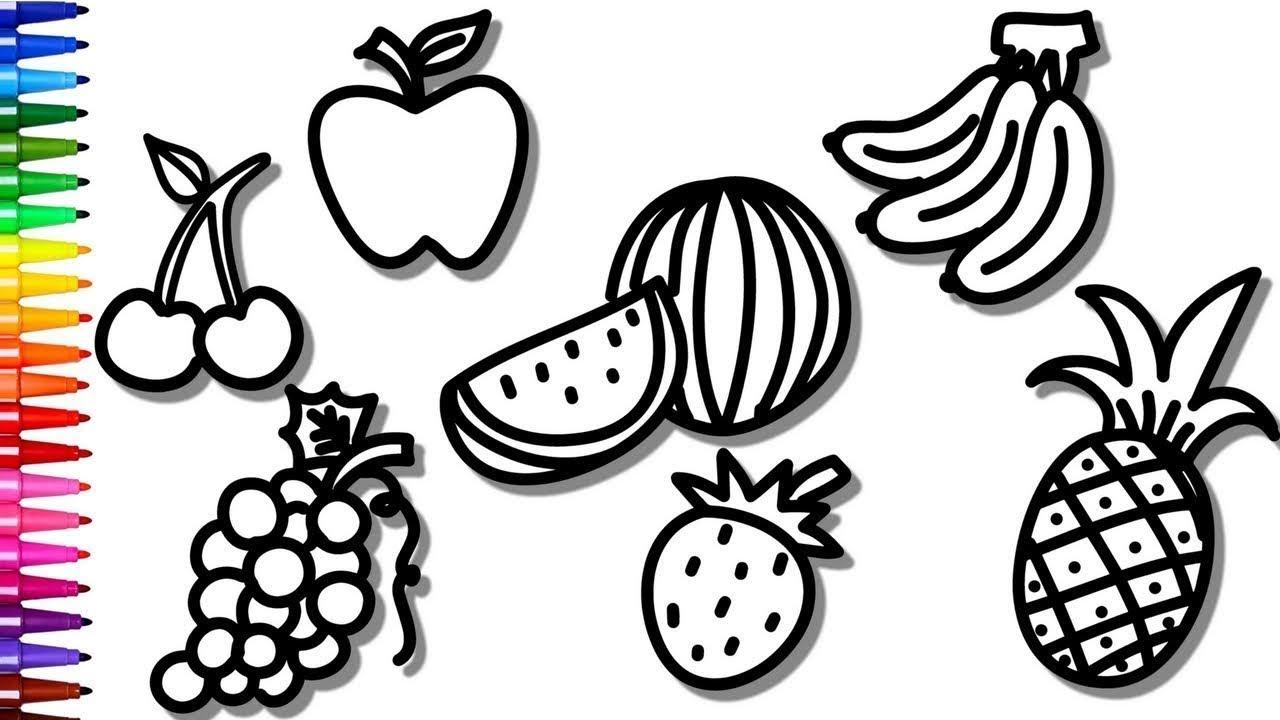 desenhos para colorir colorindo frutas uva banana e morango
