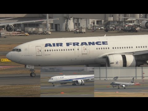 Dreamliner 787 ANA Air France 777 ultra slow motion landings