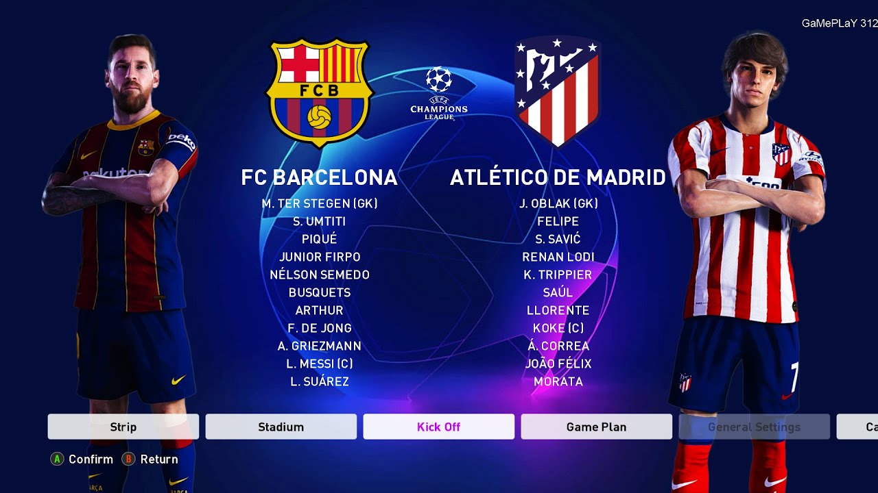 Pes 2020 Barcelona Vs Atletico Madrid Uefa Champions League Ucl New Kits 20 21 Season Youtube