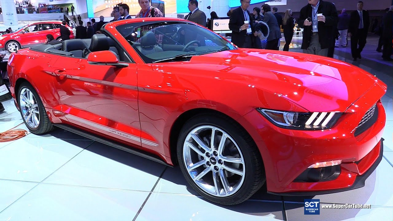 2016 ford mustang convertible exterior and interior walkaround 2016 detroit auto show youtube. Black Bedroom Furniture Sets. Home Design Ideas