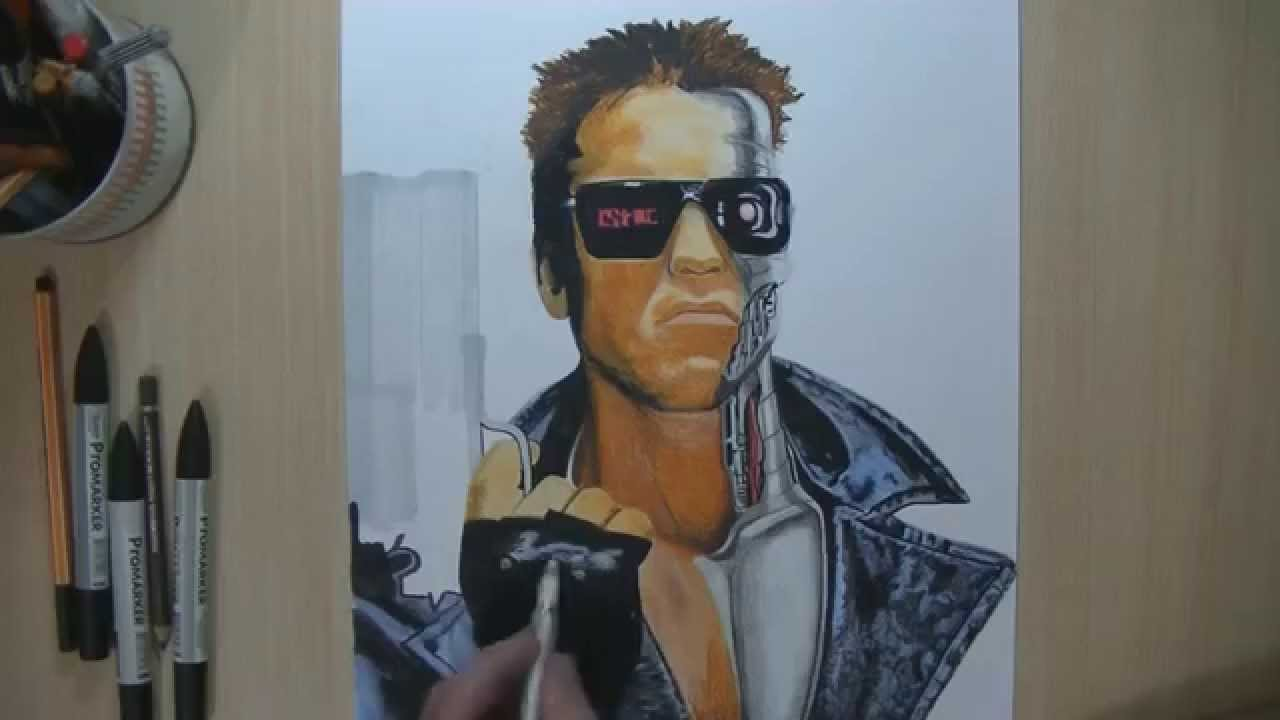 Drawing Terminator Speed Painting by Damián Riestra - YouTube Raccoon Drawing