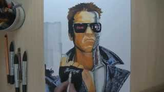 Drawing Terminator Speed Painting by Damián Riestra