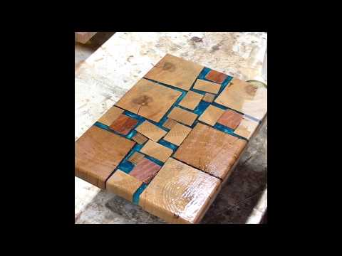 Cutting board with EPOXY and scrap wood!