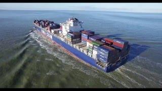 container ship cma cmg carmen   breskens the scheldt zeeland nl 17 1 2016   dji phantom 3