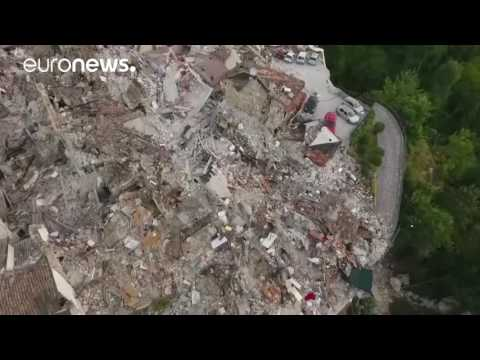 Drone footage shows devastation from earthquake in Pescara del Tronto, Italy