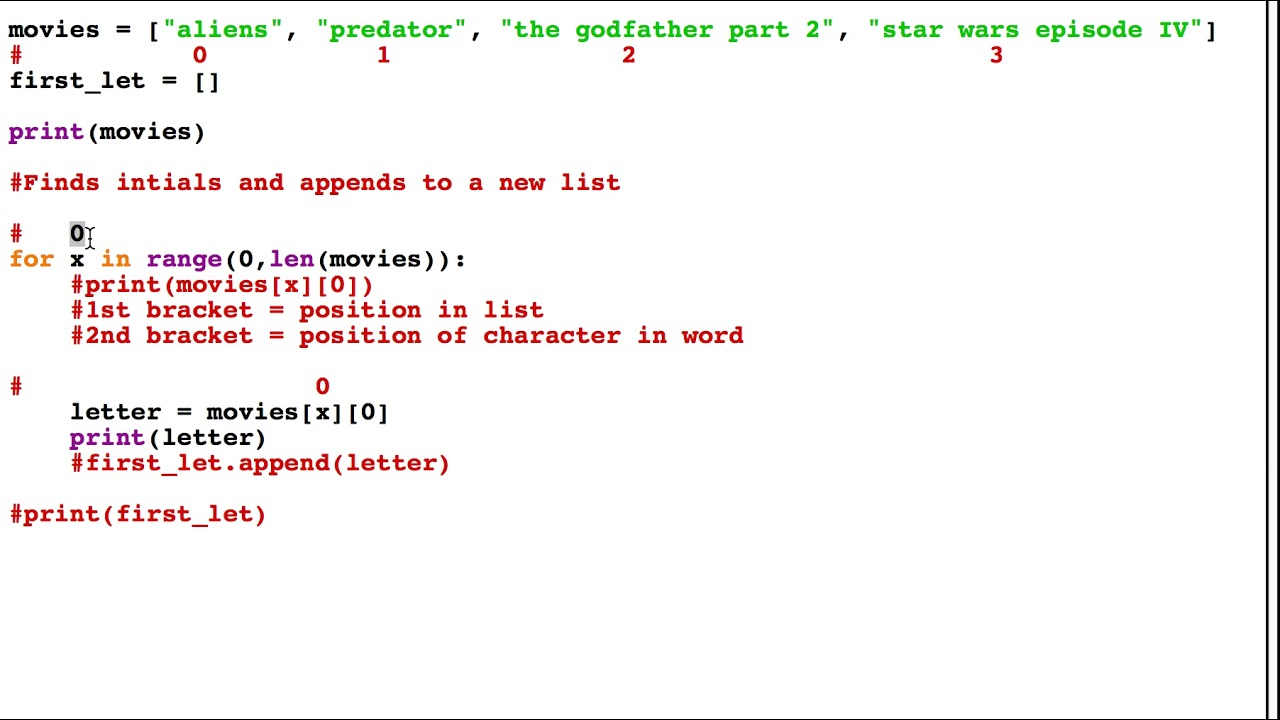 Find first letter from a list or array in Python