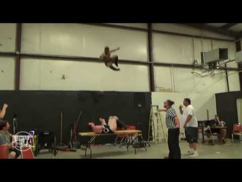 BRUTAL WRESTLING BOTCH. 2 story elbow drop onto concrete! Marcus Everett, IWA Mid-South, Memphis, IN