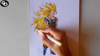 Drawing - Goku Super Sayajin 3 - Dragon Ball Z