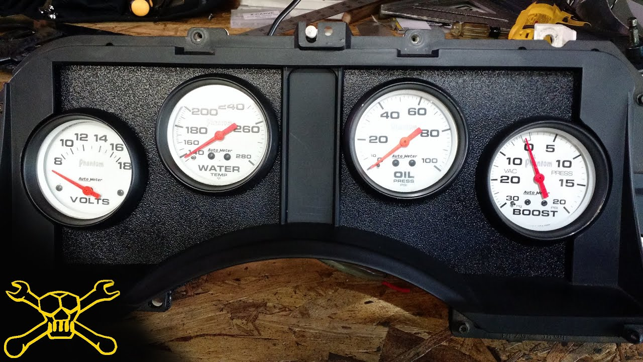 Custom Autometer Gauge Cluster Twin Turbo Mustang Build