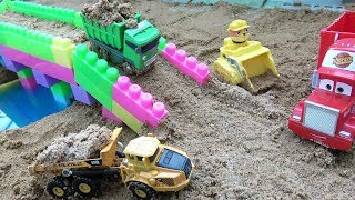Cars toy videos for Children | Building bridge with car, truck, excavator | Songs for Kids