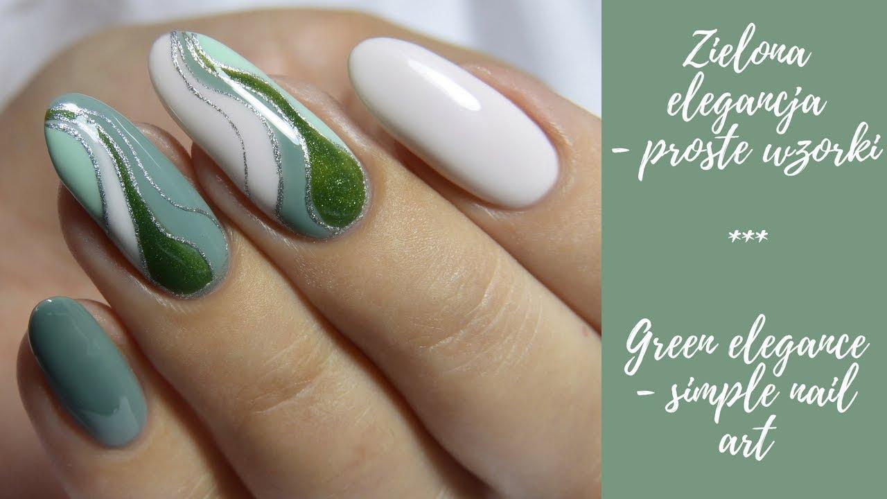 Proste Wzorki Zielona Elegancja Simple Nail Art Green Elegance