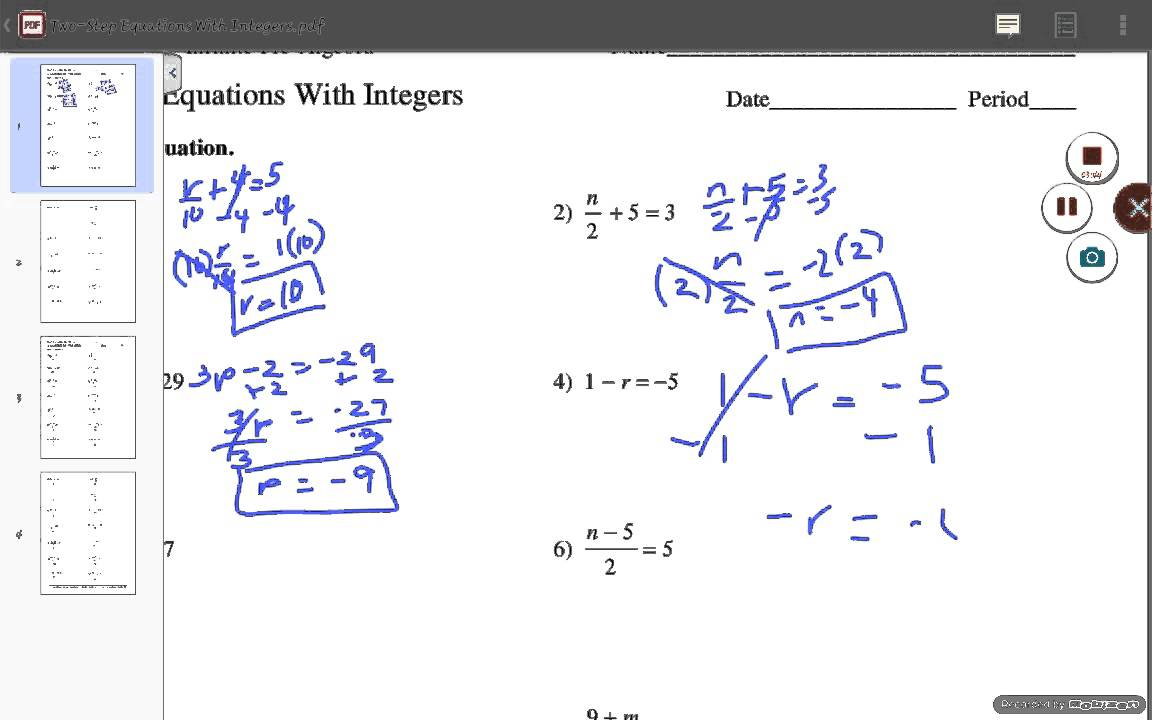 Worksheets Two Step Equations With Integers Worksheet two step equations with integers answers part 1 youtube 1