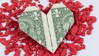 Easy Dollar origami HEART ❤️ money origami heart folding instructions