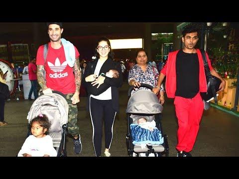 Sunny Leone With Husband Daniel Weber & Kids Asher, Noah, Nisha SPOTTED at Mumbai airport