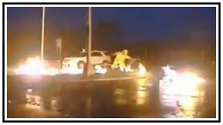 Close Call For Utility Worker As Power Line Catches Fire   Dash Cam   United States   20190415