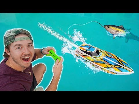 RC BOAT CATCHES GIANT FISH!