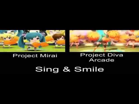 Project Mirai Sing & Smile PV Comparison 3DS Arcade