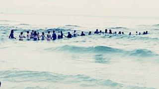 波にさらわれた2人の子どもを助けるため、大勢の海水浴客が一丸となって作り上げた「人間の絆」(アメリカ)