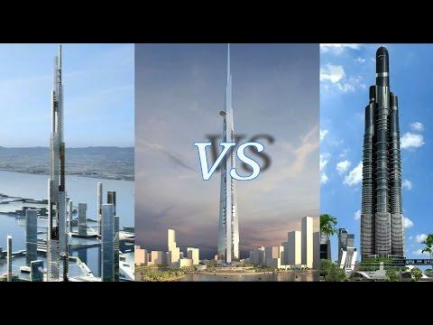 Kingdom Tower vs Azerbaijan & Sky Mile Tower 2016 HD