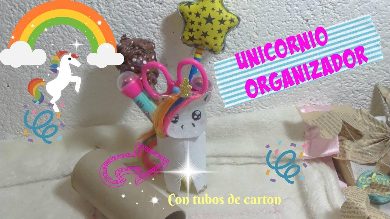 Unicornio organizador manualidades reciclando unicornio - Manualidades con rollos de papel higienico para navidad ...