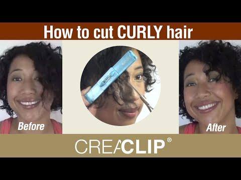 cut curly hair- bangs