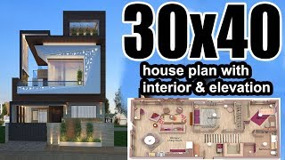30x30 house plan with car parking interior amp elevation