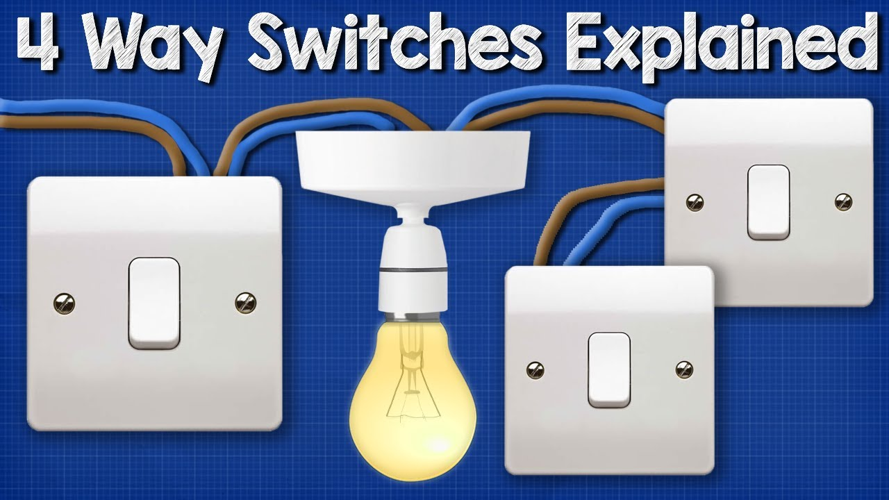 Four Way Switching Explained - How to wire 4 way intermediate light A Way Switch Wiring Diagram For V Light on
